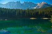 Carezza's lake and mount Latemar — Stock Photo