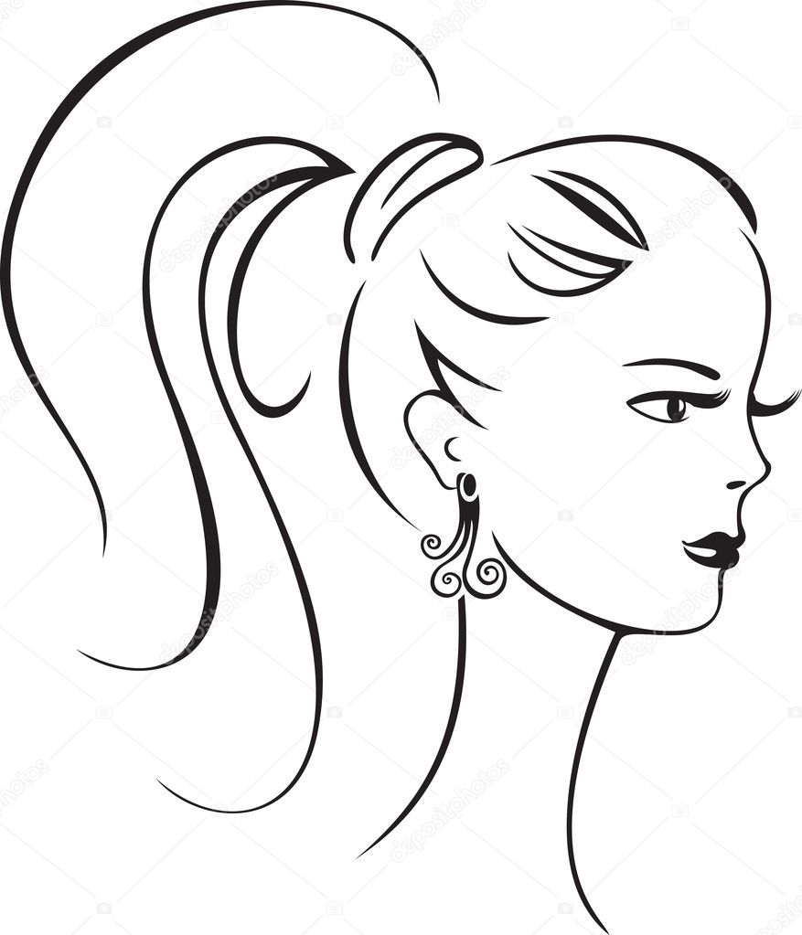 Elegant line art of a beautiful retro girl — Stock Vector #10700430