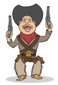A happy cartoon cowboy with two guns — Stock Vector