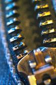 Open zipper. Macro shot — Stock Photo