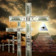 Illuminati pyramid and money religion — Stock Photo #10684440