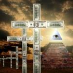 Illuminati pyramid and money religion — Stock Photo #10684440