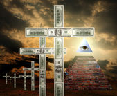 Illuminati pyramid and money religion — Stock Photo