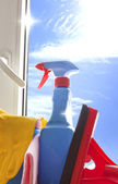 Cleaning kit for cleaner on the window — Stock Photo