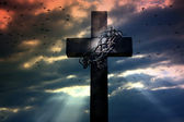 Cross crown and thorns — Stock Photo