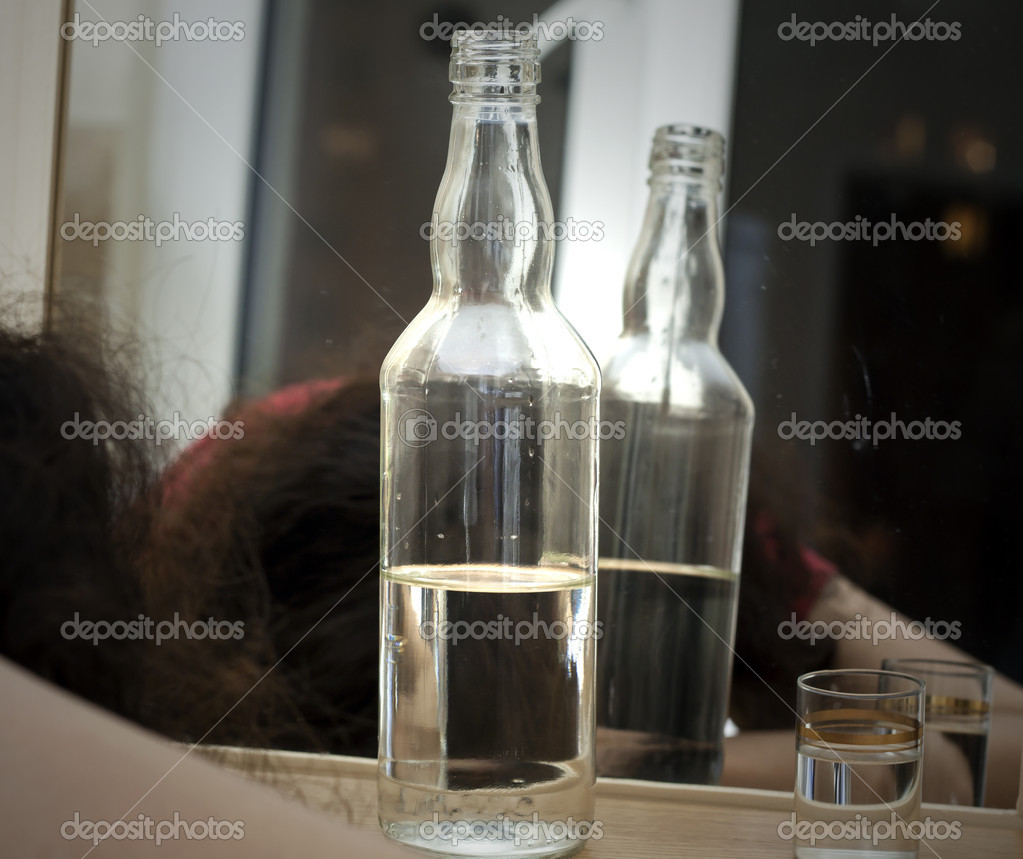 Alcoholic life and drunk woman  Stock Photo #10689293