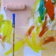 Painting abstract colorful wall background - Stockfoto