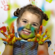 Stock Photo: Kid playing with paint