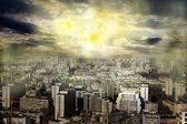 Apocalypse sun explosion magnetic storm — Stock Photo