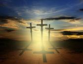 Easter three crosses — Stock Photo
