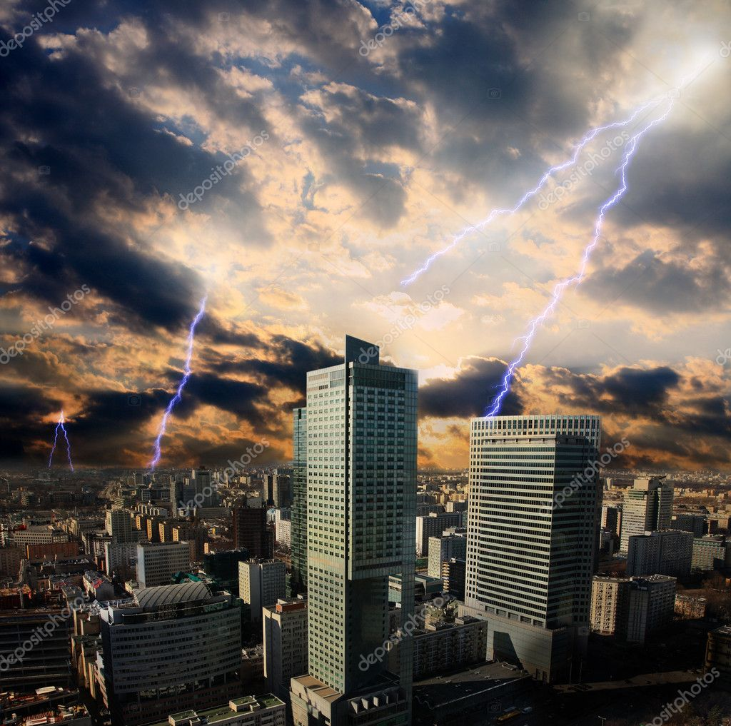 Apocalypse lightning storm in the city in Warsaw  Stock Photo #10690493