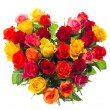 bouquet of colorful assorted roses in heart shape — Stock Photo