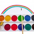 Water colors on the background of the rainbow — Stock Photo