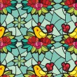 Stained-glass window with the birds and flowers pattern — Stock Photo