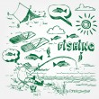 Fishing icons set — Stock Vector