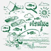 Fishing icons set — Stock Vector