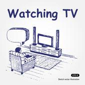 Watching TV — Stock Vector