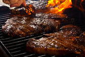 Delicious Barbequed Steaks — Stock Photo
