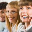 Friendly customer support service — Stock Photo