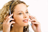 Talking by the headset — Stockfoto