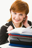 Woman with heap of papers — Stock Photo