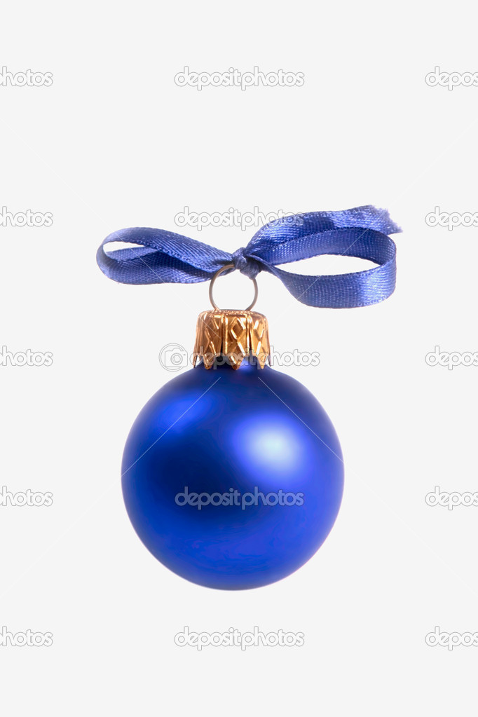 Image of a blue Christmas tree ball isolated on a white background  Stock Photo #10709225