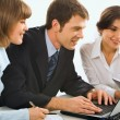 Stock Photo: Business discuss idein front of computer