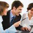 Business discuss an idea in front of the computer — Stock Photo