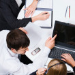 Group of business looking at monitor — Stock Photo
