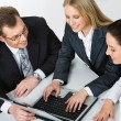 Image of three business working at meeting - Stock Photo