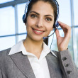 Woman Wearing Headset — Stock Photo