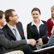 Portrait of business sharing their ideas about business project — Stock Photo