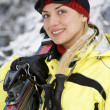 Smiling girl after skiing - Zdjęcie stockowe