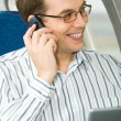Calling in the airplane — Stock Photo