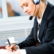 Busy telephone operator — Stock Photo