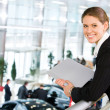 Woman in car center — Stock Photo