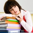 Tired teacher - Stock Photo