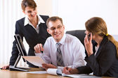 Business talking at the workplace — Stock Photo