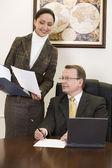 Secretary and boss — Stock Photo