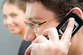 Important telephone call — Stock Photo