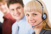 Friendly telephone operator — Stock Photo