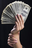 Hand holding money dollars — Stock Photo