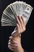 Hand holding money dollars — Stock Photo