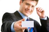 Mann mit Grußkarte — Stockfoto