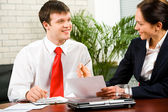 Discussion of business-plan — Stock Photo