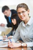 Businesswoman with glasses — Stock Photo