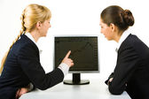 Discussing computer work — Stock Photo