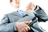 Empresário com laptop — Foto Stock