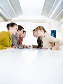 Photo of business staring at each other with aggressive expression — Stock Photo
