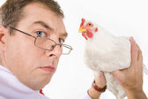 Holding hen — Stock Photo